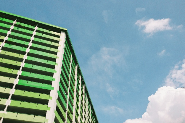 HDB block & blue skies